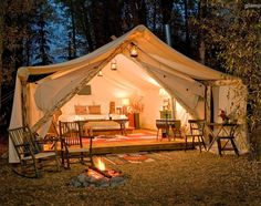 Now this is camping! What a perfect weekend getaway this would be! Love the tribal rugs!