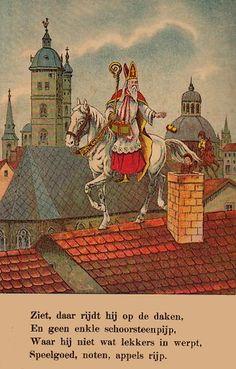 Sint Nicolaas en zijn Knecht, Door Mevr. C. Broers - De Jonge. Uitgegeven ca 1900. (met PhotoFiltre bijgewerkt beeld)