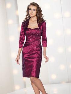 Charming Sheath/Column Scoop Neckline Knee Length Mother of The Bride Dress