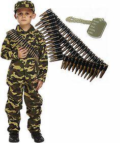 army boy kids soldier action man fancy dress costume outfit bullet belt dog