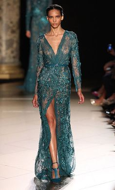 French model, Cora Emmanuel for Elie Saab Haute Couture Autumn / Winter 2012-13 Fashion Show....