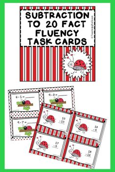 Subtraction to 20 Fact Fluency Task Cards - Ladybug Theme Math Resources, Math Activities, Teaching First Grade, Morning Work, Elementary Math, Task Cards, Students, Facts, Stars