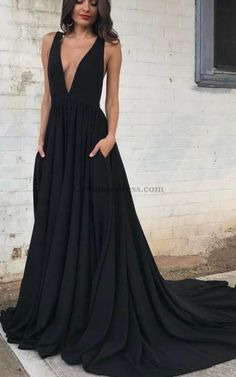 V Neck Black Long Pleated Open Back Prom Dress with Train