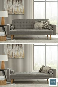 Maximize limited space with a stylish sofa that converts into a bed. Jonathan and Drew Scott designed this functional piece with tufted gray cushions and accent pillows for a modern look.