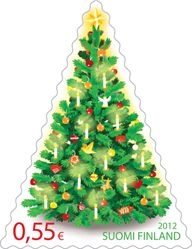 Christmas Tree 0,60€ stamp, Finland 2012, Designer: Nina Rintala