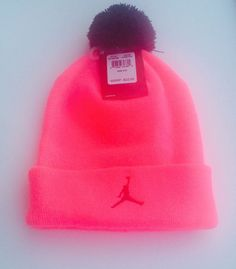 children hat Nike Jordan Premium Pom Winter Beanie Black Hyper Pink Youth  8-20  Jordan  Beanie a2b7a974f7ac