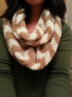 Crochet from J: Chevron Infinity Scarf Pattern- looks easy and could be good for Cyd to sell! Must show her!