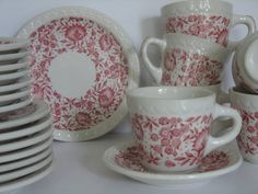 Syracuse Roxbury KCS Railroad China / Open Stock Cups, Saucers and Dessert Plates