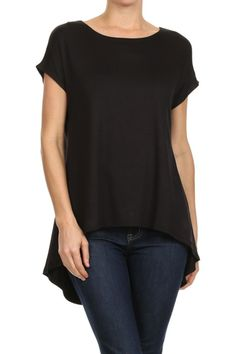 Short Sleeve Hi-Low Tunic Top - BodiLove | 30% Off First Order  - 1
