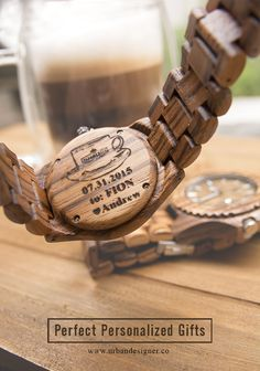 Solid zebra wood watches,  great personalized gifts ideas for boyfriend, anniversary, groom, groomsmen, birthday, and fathers.