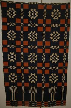 Beautiful Antique C Americana Woven Wool Overshot Coverlet Primitive Quilts, Antique Quilts, Loom Weaving, Hand Weaving, Welsh Blanket, Textiles, Fabric Samples, Rug Hooking, Woven Rug