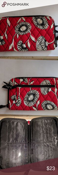 Vera Bradley Deco Daisy Zip Around Wallet Length 8.25, height 4.25, depth 0.75 Vera Bradley Bags Wallets