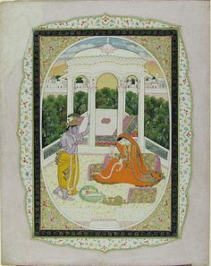 Krishna Watches Radha Twine Flower Garlands (painting), with attached folio bearing Hindi inscription.   Date     c. 1810. Places -      Creation Place: South Asia, India, Himachal Pradesh, Kangra