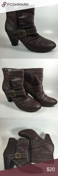 BONGO brown ankle boots SIZE 8 Stylish brown boots with scrunch design and low block heel by BONGO SIZE 8 excellent condition Shoes Ankle Boots & Booties