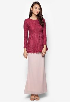 Ethereal Spirit Baju Kurung Moden from Zolace in Red This item is sold and fulfilled by ZolaceExude an air of romance the moment you put this on. Decorated with solid panels and delicate, floral-inspired lace overlay, this Zolace blouse is the way to go for a feminine vibe. Dress to impress wit... #bajukurung #bajukurungmoden