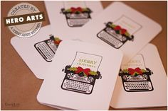 simple use of typewriter stamp for cards.  Could mass produce these...