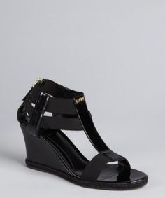 Fendi: black patent leather and fabric strappy mini-wedge sandals on sale for $375.00.  Retail: $470.00