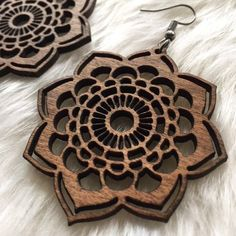 Your place to buy and sell all things handmade Wood Necklace, Wood Earrings, Laser Cut Wood, Laser Cutting, Gravure Laser, Laser Cutter Ideas, Laser Cut Jewelry, Fish Hook Earrings, Custom Jewelry Design