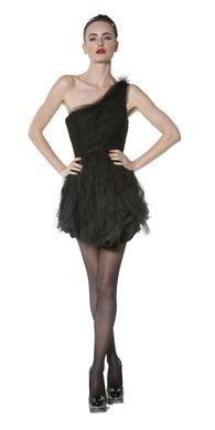 Tessie Tulle One Shoulder Party Dress.. BLACK SWAN
