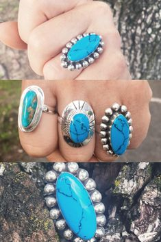 unusual-estate Open-Minded Vintage Ring 1950s-1960s Turquoise Glass Flower 2 Post Free Outstanding Features