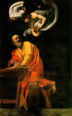 Caravaggio -The Inspiration of Saint Matthew. 1602, 232 x 183 cm, Rome, San Luigi dei Francesi.