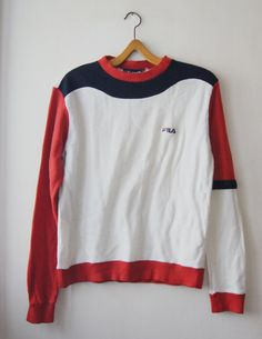 Vintage FILA Sweater 1980's blue white red sport by DorisVintage