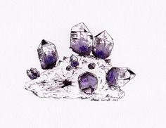 Steve Sorrell artwork: Ink and watercolour amethyst.