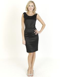 Black Dresses - Pleated Front Corsage Shift Dress - http://www.blackdresses.co.uk/