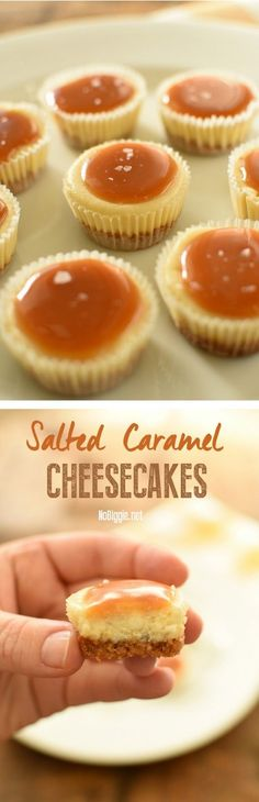 Salted Caramel Cheesecakes via @nobiggie