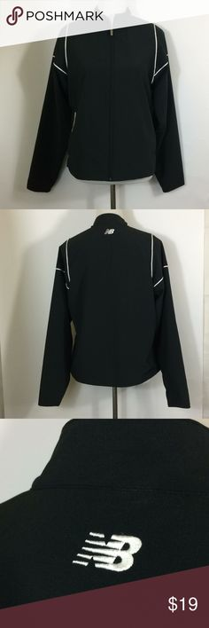 "Charcoal Black Windbreaker Full Zip Mesh Lining Women's size medium New Balance Jacket.  Charcoal shell with black mesh lining and white trim. Sleeves do not have mesh lining.  Side pockets zip closed 21"" across underarms  24.5"" back of neck to hem New Balance Jackets & Coats"
