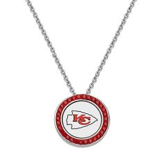 """Kansas City Chiefs Team Logo Crystal Pendant Necklace - Made with Swarovski Crystals, Women's, Size: 18"""", Red"""