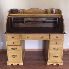 Refinished roll top desk. Great to store fly tying material.