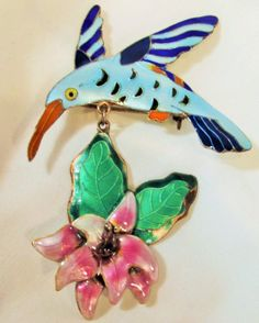 Brooch Vintage Hummingbird and Flower by StoneForestJewels on Etsy