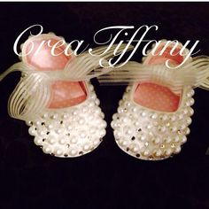 Custom pearl bling baby shoes