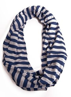 Navy and Grey Stripe Infinity Scarf
