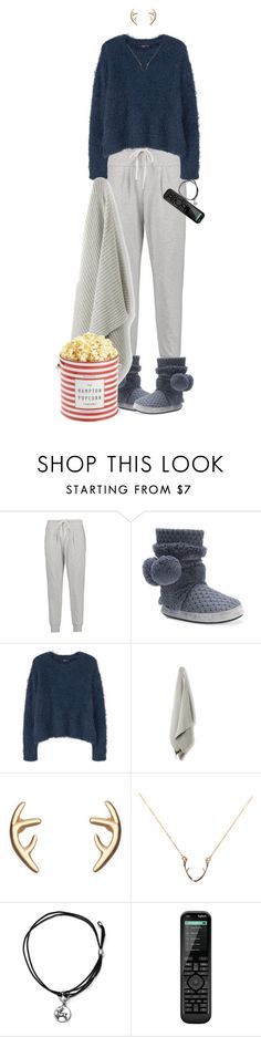 """""""Snow Day In"""" by ittie-kittie ❤ liked on Polyvore featuring DKNY, Muk Luks, MANGO, Johnny Loves Rosie, Alex and Ani, Logitech, snowday and loungewear"""