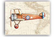 Vintage airplane decor Sopwith Camel on a World map as background. Digital decoration for boys nursery wall . --------------------- This a printable file from my original artwork , watercolors painting and file with fragments of old Worlds map 1780 year. More Printable Art here