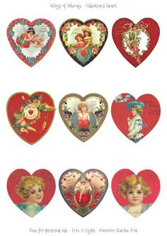 Wings of Whimsy: Valentine Hearts DAY 6 - free for personal use #vintage…