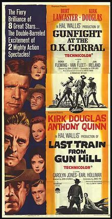 Gunfight at the O.K. Corral (1957) is a film starring Burt Lancaster as Wyatt Earp and Kirk Douglas as Doc Holliday, based on a real event which took place on October 26, 1881. The picture was directed by John Sturges from a screenplay written by novelist Leon Uris. The supporting cast features Rhonda Fleming, John Ireland, Jo Van Fleet, Martin Milner, Dennis Hopper, Jack Elam, Lee Van Cleef, DeForest Kelley, Earl Holliman and Charles Herbert.