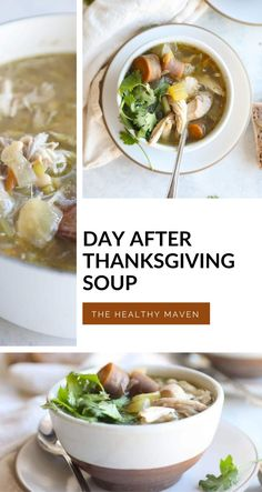 Save that leftover turkey carcass and enjoy every last scrap from Thanksgiving with this delicious turkey carcass soup. Paired with hearty grains, beans and veggies, this turkey soup is the perfect day-after Thanksgiving meal the whole family can enjoy! Chicken Carcass Soup, Turkey Soup From Carcass, Thanksgiving Soups, Making Bone Broth, Frozen Turkey, The Healthy Maven, Leftover Turkey, Bowl Of Soup, Healthy Soup Recipes