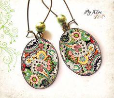 Boucles d'oreilles Cabochon • Motif cashmere • fleurs bohème Paisley rouge vert jaune gris beige verre