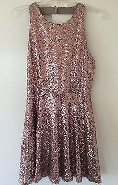 Crystal Doll Rose Gold Sequin Sleeveless Halter Cocktail Mini Dress Skater Sz L