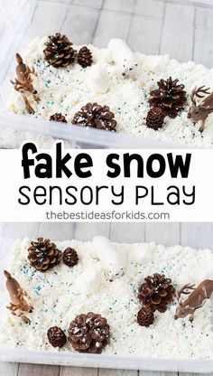 Fake Snow Sensory Bin - this small world play scene for Winter is so fun to make! A perfect winter kids sensory activity. #bestideasforkids