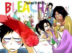 Shuhei, Byakuya, Yoruichi, Hiyori, Gin, Kisuke, Shinji, and Kaien bleach