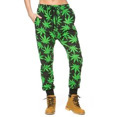 Flaunt around in these Weed Print Jogger Pants. They include a functional drawstring at the waist that can be pulled according to your desired fit. Rest your n…