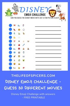 Do you love guessing Disney emojis? Try out this FREE printable game the Disney movies emoji challenge. Disney Movies To Watch, Best Disney Movies, Kid Movies, Emoji Quiz, Emoji Games, Emoji Challenge, Disney Challenge, Pictionary For Kids, Guessing Games For Kids