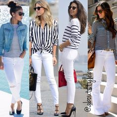 Great outfit idea to copy ♥ For more inspiration join our group Amazing Things ♥ You might also like these related products: - Jeans ->. White Pants Outfit, Outfit Jeans, White Outfits, Classy Outfits, Beautiful Outfits, Casual Outfits, White Jeans Outfit Summer, Mode Outfits, Jean Outfits