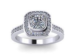Cushion Cut Engagement Ring Halo Diamond Wedding Ring 14K White Gold with Charles & Colvard Forever Brilliant Moissanite Center - V1092 by JewelryArtworkByVick on Etsy