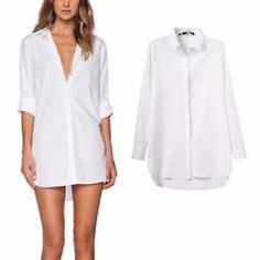 Long white polo shirt New long in the back white polo shirt from Charlotte Russe. Charlotte Russe Tops Button Down Shirts