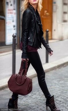 This whole outfit is awesome. Especially the jacket. Not sure how I feel about the shape of the purse though.
